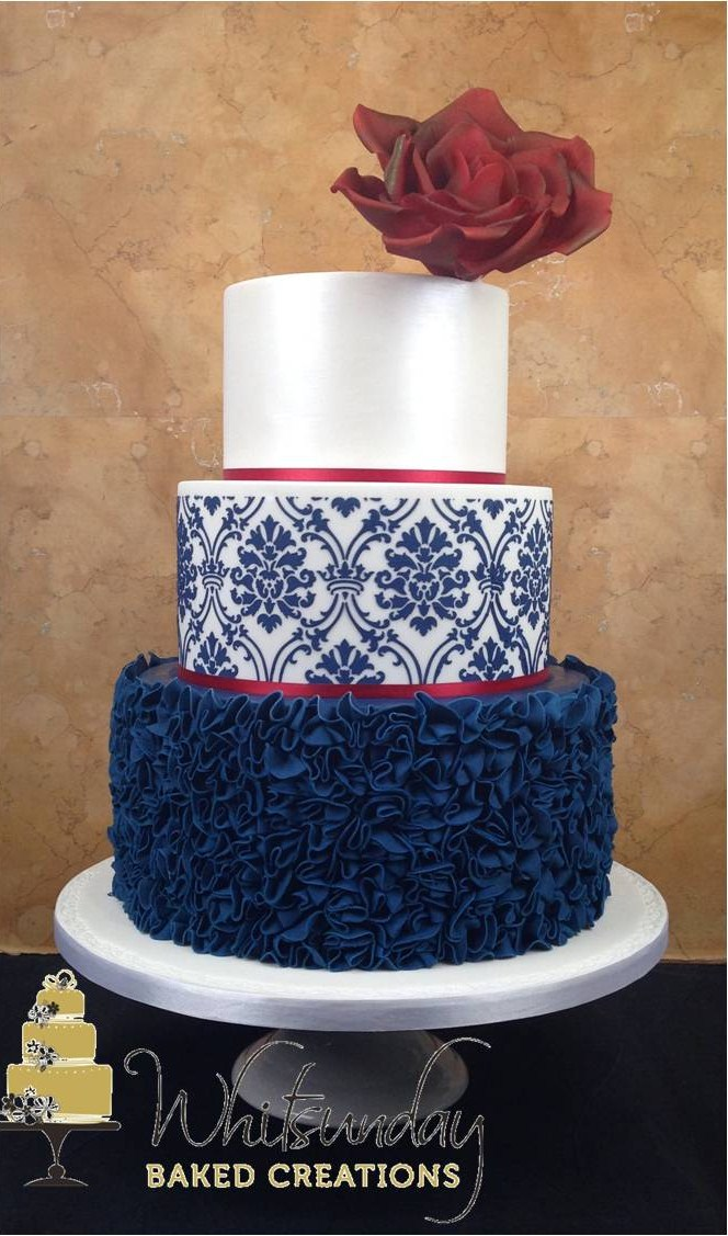 Navy Blue Silver And White Wedding Cakes